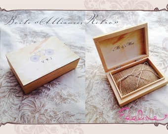 Box ring bearer / retro vintage wedding ring cushion personalized wooden box