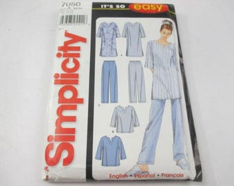 Simplicity It's So Easy sewing pattern for misses sleepwear pattern 7050, pajama pants, top and sleep shirt
