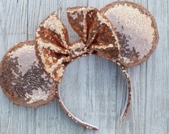 Rose Gold Minnie Mouse Ears, Rose Gold Ears, Disney Ears, Mickey Ears, Rose Gold, Minnie Ears, Minnie Mouse Ears