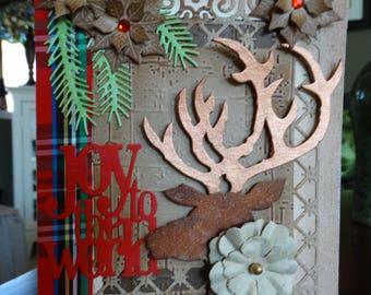 Joy to the World Deer Stag Christmas Card