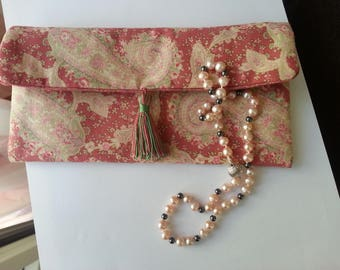 Jewelry pouch, pink cotton, pompon