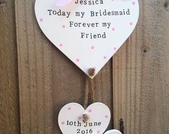 Personalised bridesmaid flower girl maid of honour gift present wedding heart plaque