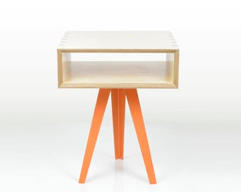 Black Walnut and Baltic Birch Plywood Side Table with Steel Legs