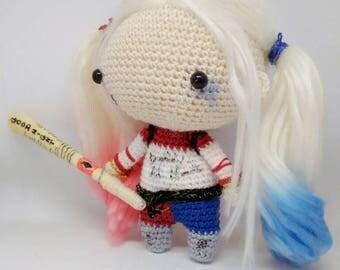 Harley Quinn Suicide Squad DC Comics crochet amigurumi doll toy, escuadrón suicida muñeca amigurumi Harley Quinn