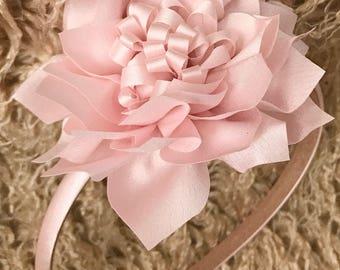 Flower girl headband in Satin handmade lotus flower
