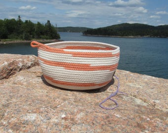 Creamsicle handmade rope bowl