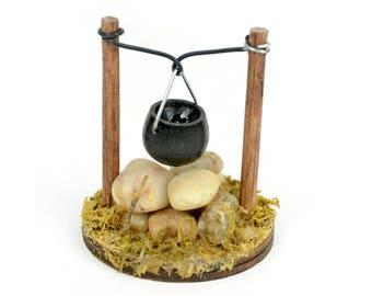 """Small Fire Pit with Cooking Pot - 2"""" x 2"""" - Miniature Fairy Garden Dollhouse"""