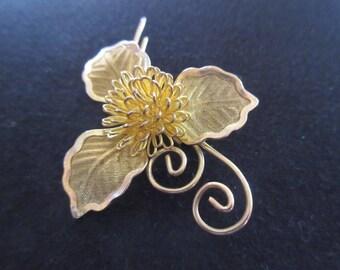 Vintage Fine Filigree Flower Brooch Fine Lace Leaves Remarkable Condition