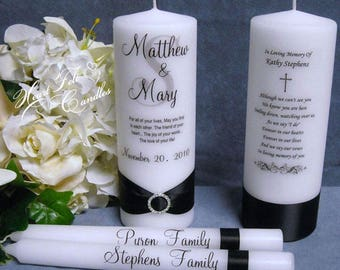 Monogram Unity Candle Set - Wedding Ceremony Set - Personalized Candles - Wedding Memorial Candle - Unique Unity Set