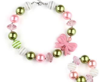 Pink white and green infant bubblegum necklace set