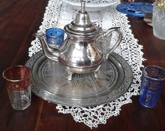 The Moroccan, teapot set, serving tray 4 glasses