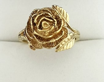 9ct Yellow Gold Rose Ring Vintage