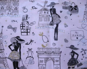 Paris fashion on light pink fabric