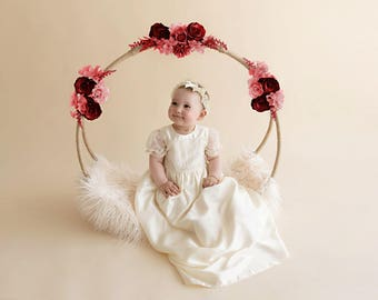Isabella champagne lace christening gown, silk baptism gown, christening wear