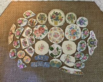 Vintage Broken China Focal Mosaic Tiles Lot of 39