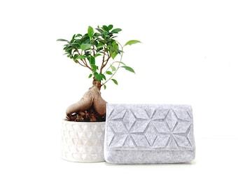 Gray clutch, Boho style clutch, Gift for her, Felt clutch,  Vegan clutch, Ethnic style clutch, Gift for women, Gray bag, Geometric clutchbag