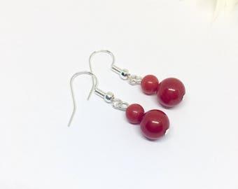Coral Earrings,  Gemstone beaded Earrings,  Dangle Clip On, Gift For Her, Summer Earrings, Wife Gift, Beach Jewelry