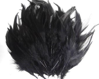 100pcs Black Rooster Feathers.  Bridal Wedding Crafts,