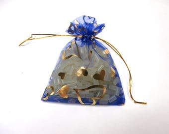 26 Organza Bags, Blue with Gold Hearts Organza Bags 10cm x 14cm, Party Favor Bags, Jewelry Bags, Mesh Bags, Wedding Favor Bags