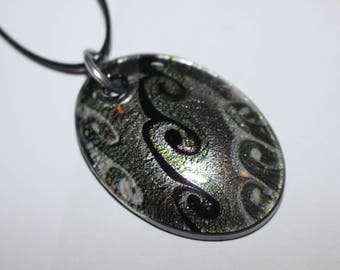 Statement pendant necklace - black and grey