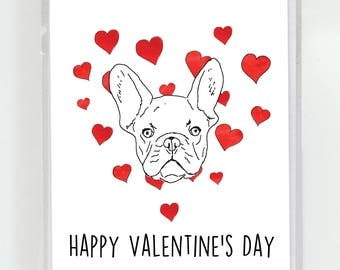 French Bulldog Dog Happy Valentineu0027s Day Love Watercolor Greeting Card,  Dogs, ...