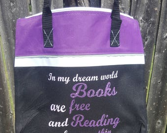 Zippered Purple Black & White Tote bag with Book Phrase and Some Glitter