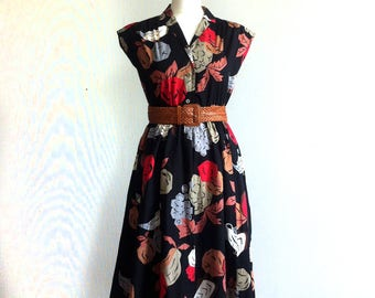 SOLD 1980 summer black sleeveless dress cotton bird print
