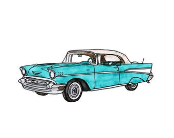 Turquoise Vintage Chevrolet Watercolor