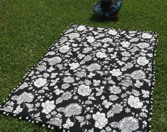 Black and white floral out door  Beach / picnic blanket/ mat