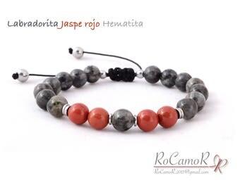 Bracelet #RoCamoR labradorite, red Jasper and Hematite