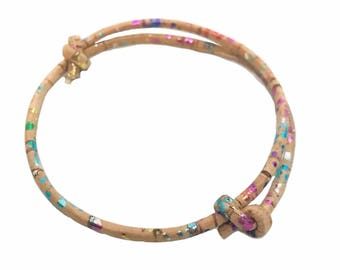 Multicoloured Vegan Cork Adjustable Bracelet