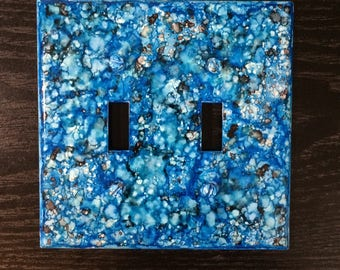 Alcohol Ink Double Switch Plate double light switch cover