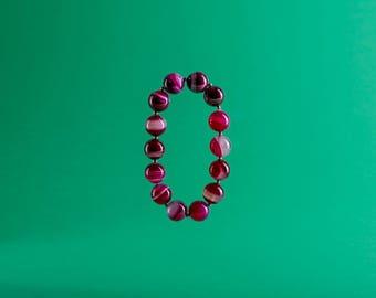 Brazilian Agate Bracelet, Gemstone Magenta Bracelet, Fuchsia Bracelet, Bright Pink Beads, Gift for Her, Profits Donated to Charity