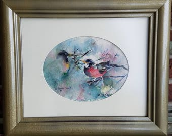 Original Small Watercolor Painting of a Pair of Robins