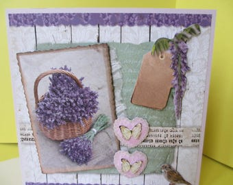 Card 3D (relief) basket of lavender and butterflies