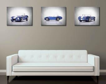 Set of 3 - 1964 Shelby Cobra wall prints, vintage car decor, car room decor, Shelby cobra, car poster, man cave decor, car prints