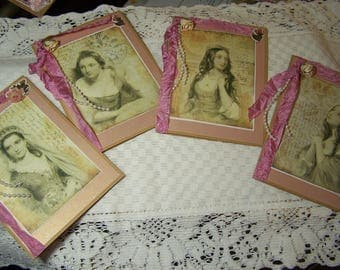 Renaissance Greeting cards, set of 4. Handmade cards,