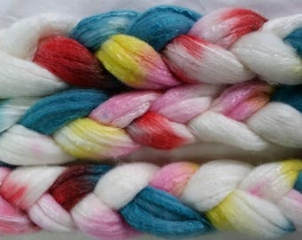 Spinning fiber  merino silk roving 100g hand dyed