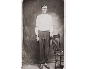 RPPC PEOPLE: Very Tall Young Man, Vintage Real Photo Postcard, ca. 1907-1914