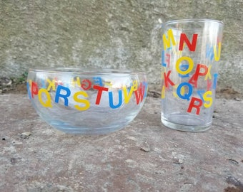 Vintage ABC Kids Dishes - Bowl and Cup