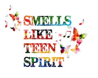 Abstract Colorful Smells like teen spirit with  butterflies Home Art Decor Matt  / Silk