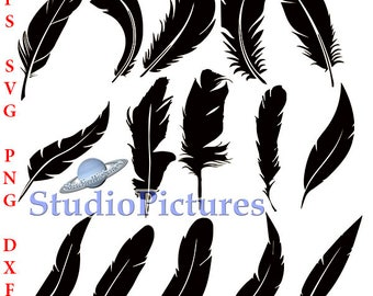 Feathers svg, silhouette clipart, Feathers dxf, digital download, clipart feather dxf, eps, for cricut, cameo design, feather clipart png