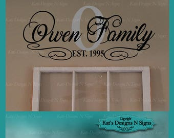 Monogrammed Family Name Wall decal