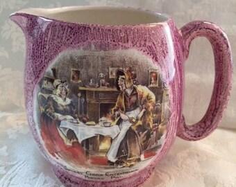 Vintage Pink Pottery Sandland Ware Lancaster & Sandland Ltd. Hanley Jug with Illustration