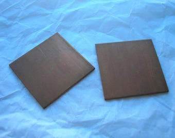 "Copper Squares 1 1/4"", Metal Blanks,  Pack of 2, Copper Shape for Enameling, Copper Enameling Supply, Metal Stamping, Jewelry Making, Metals"