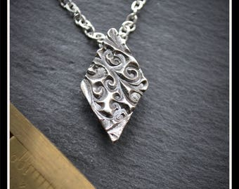 Silver Diamond Pendant or Hijab Pin - Silver Precious Metal Clay (PMC), Handmade, Necklace, Hijab Pin - (Product Code: ACM077-17)