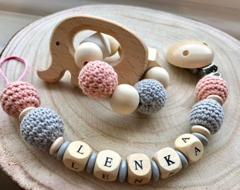 Wooden Dummy clip ,Grey  Pacifier chain,wooden teether,baby holder toy,Beaded pacifier clip,Pacifier holderChewing beads