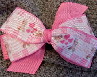 Supporting cancer theme hair bow - Girl's hair bow, Hair bow for girl, Toddler hair bow, Hair barette, Hair bow