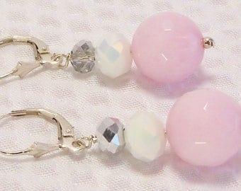 Pink Jade and Crystal Earrings, Pink Jade Jewelry, Handmade, Jade and Crystal, Jade Stone, Pink Stone, White, Silver Crystal, Semiprecious