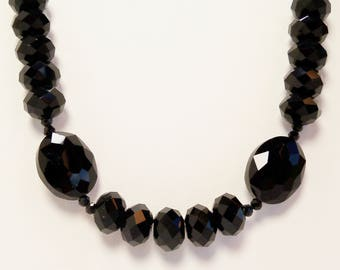 Black Crystal Necklace, Black Chinese Crystal Necklace, Jet Black Jewelry, Handmade, Beaded Necklace, Crystal Necklace, Black Crystal
